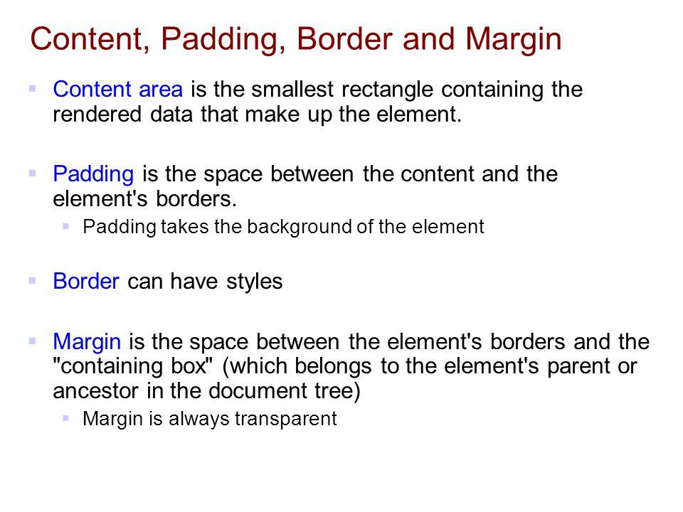 Content, Padding, Border and Margin