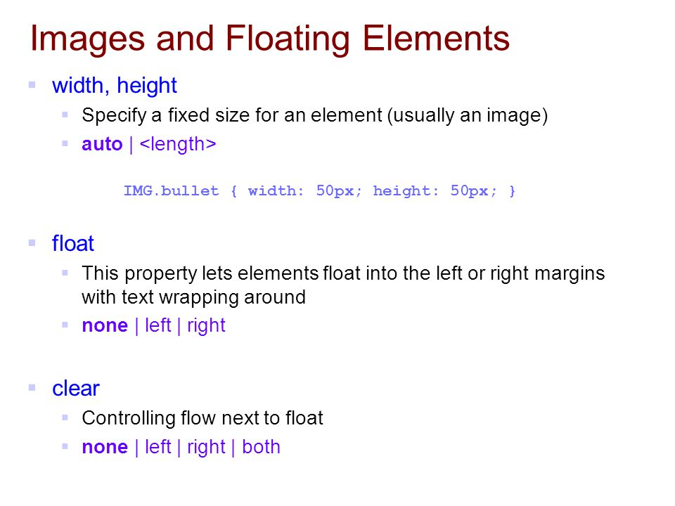 Images and Floating Elements