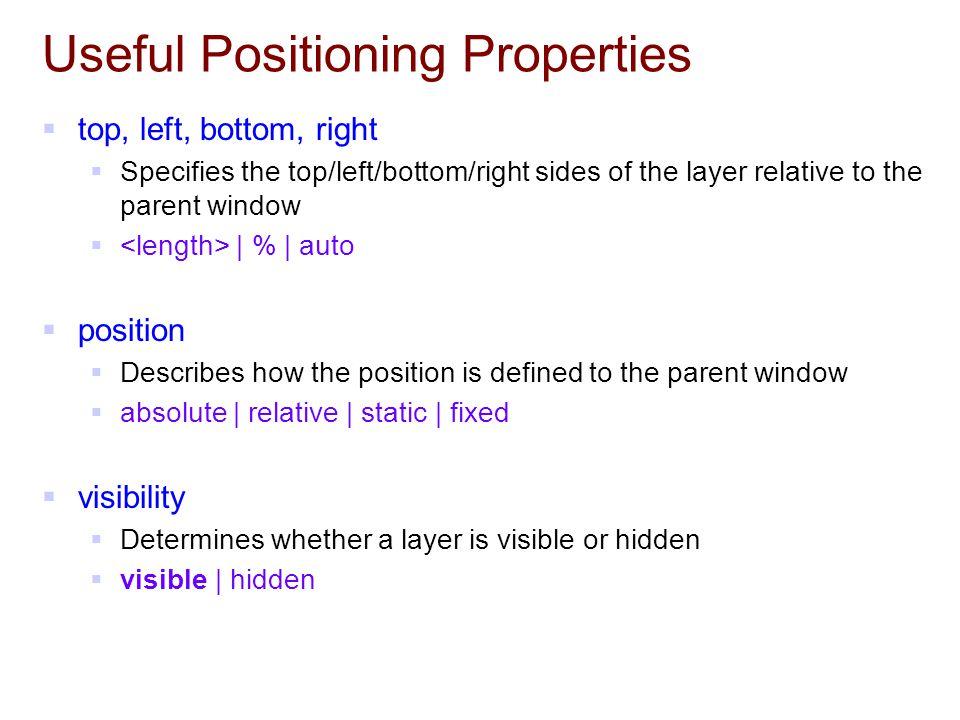 Useful Positioning Properties