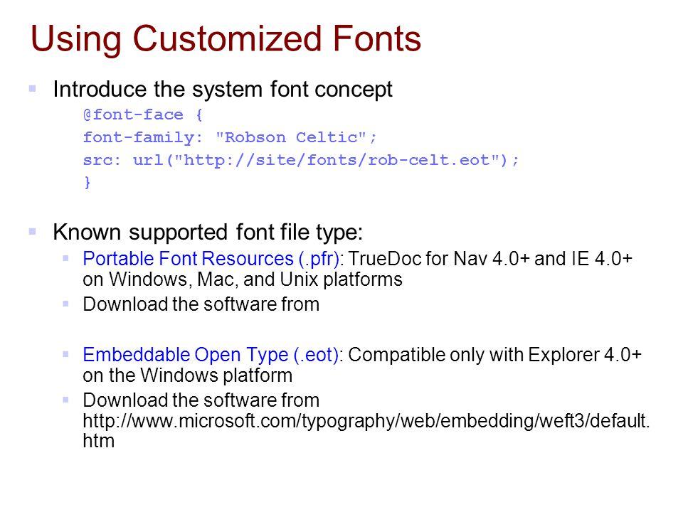 Using Customized Fonts