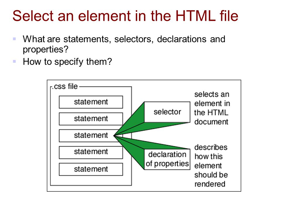 Select an element in the HTML file