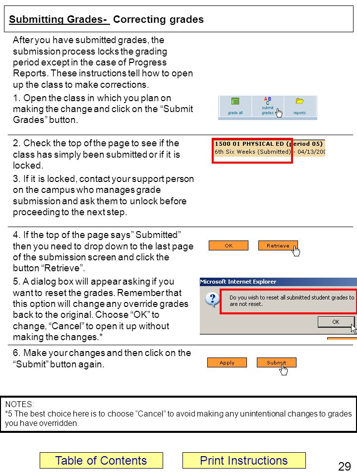 Submitting Grades- Correcting grades