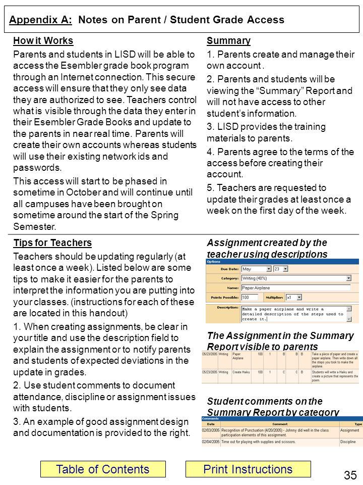 Appendix A: Notes on Parent / Student Grade Access