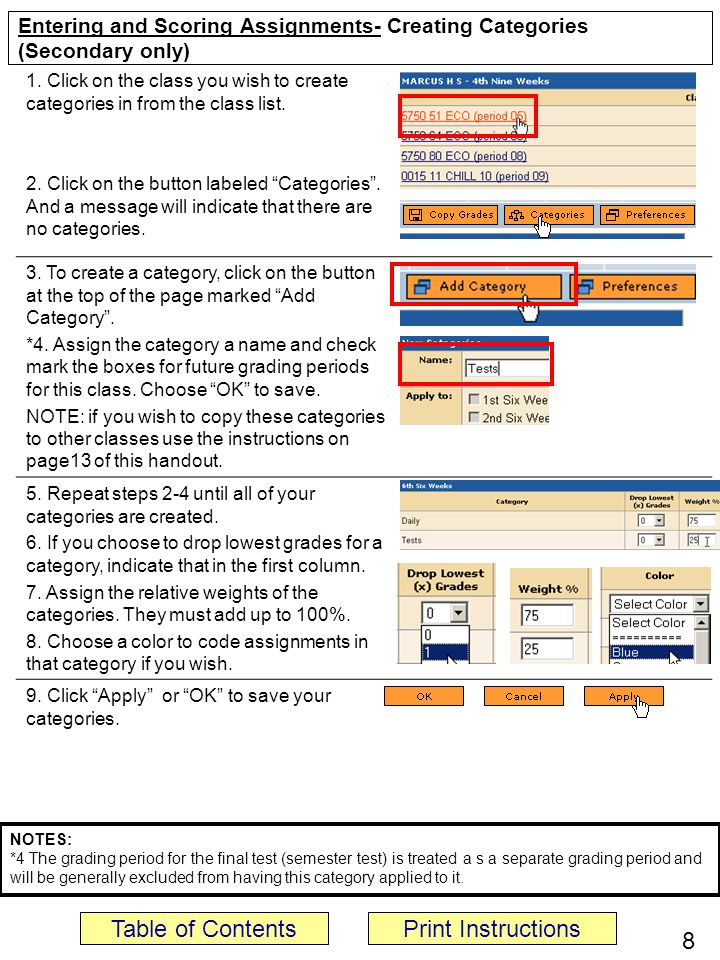 Entering and Scoring Assignments- Creating Categories (Secondary only)