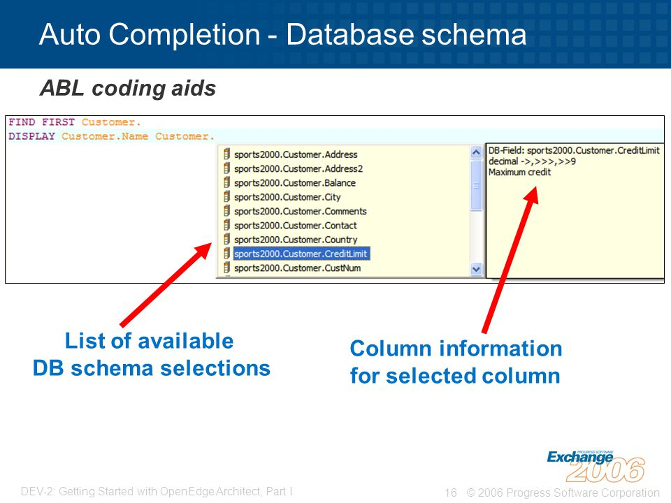 Auto Completion - Database schema
