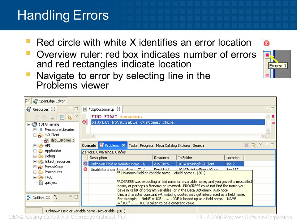 Handling Errors Red circle with white X identifies an error location