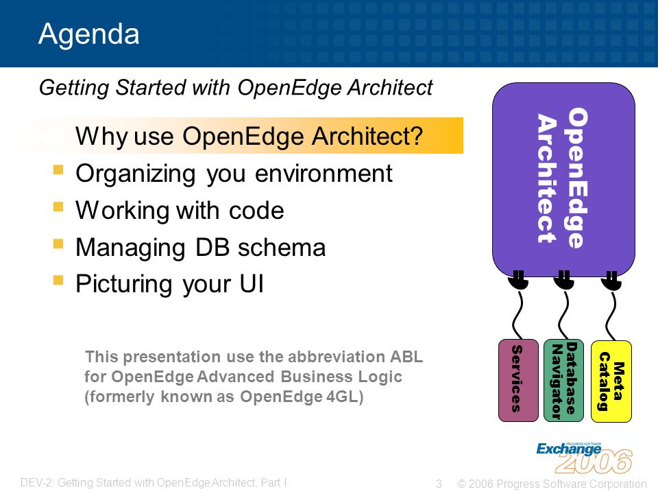 Agenda Why use OpenEdge Architect OpenEdge Architect