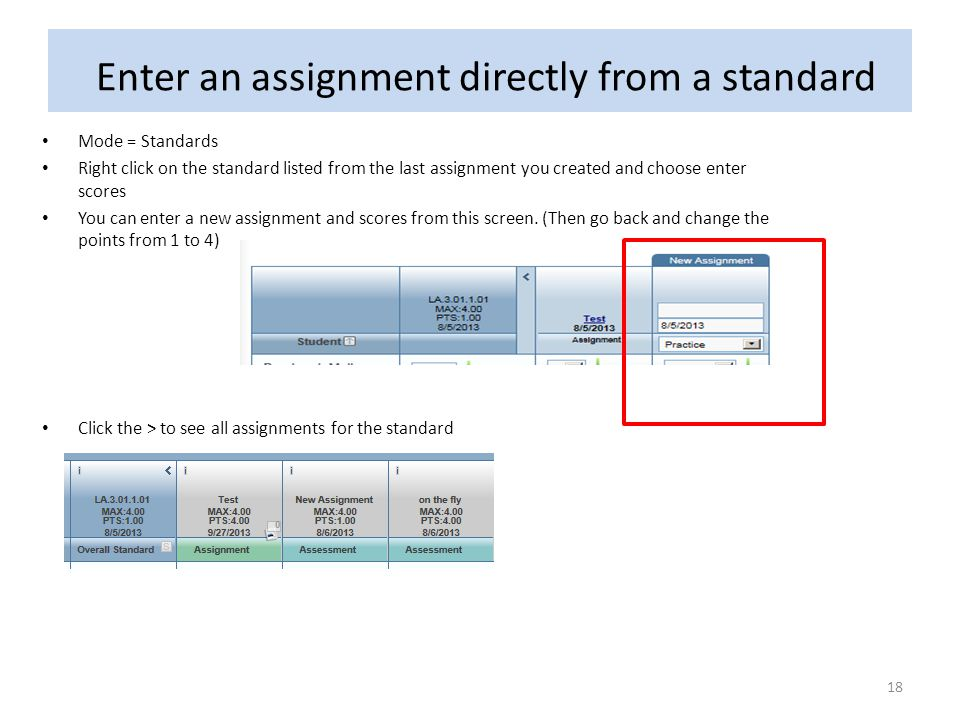 Enter an assignment directly from a standard