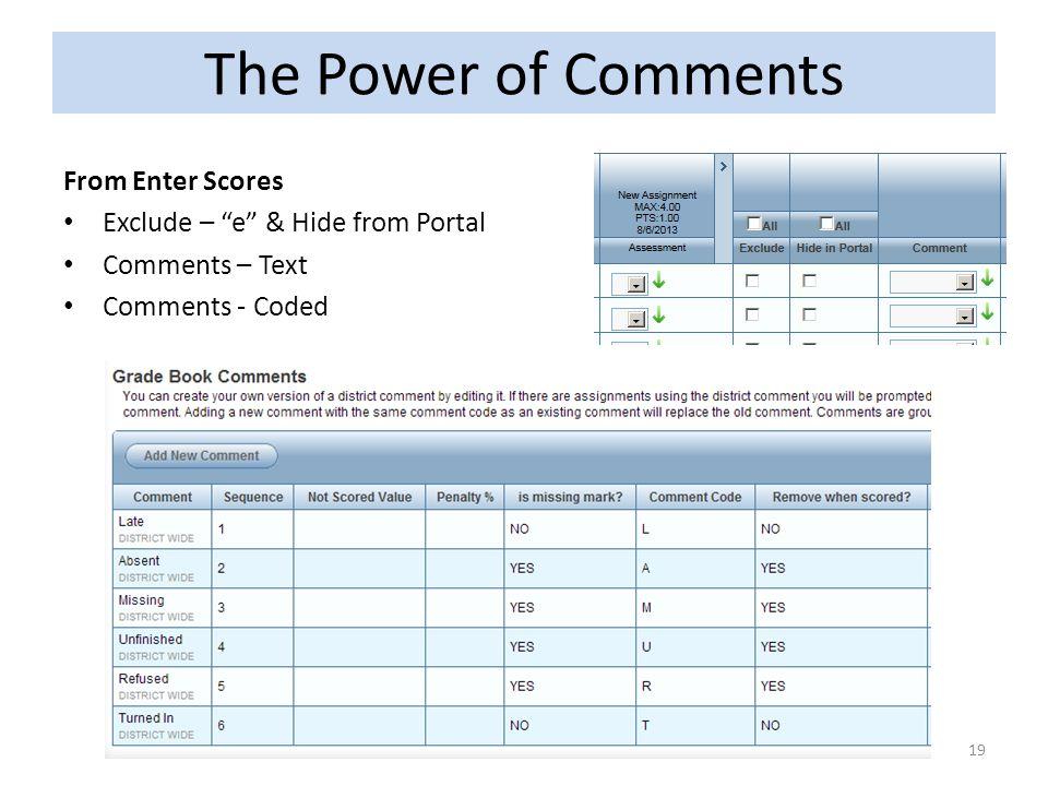 The Power of Comments From Enter Scores