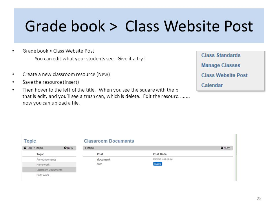 Grade book > Class Website Post