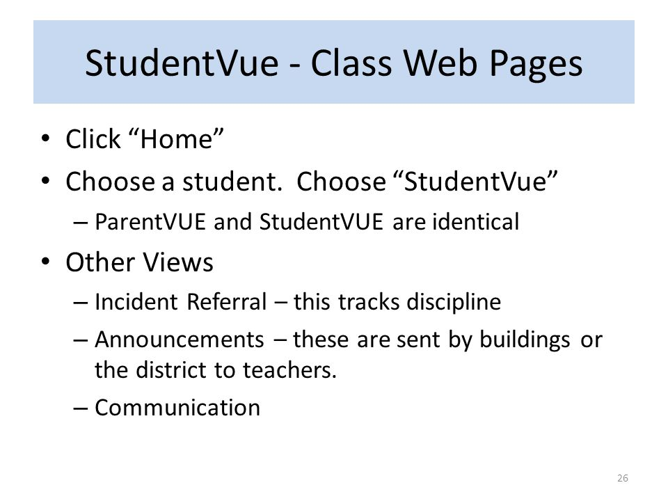 StudentVue - Class Web Pages