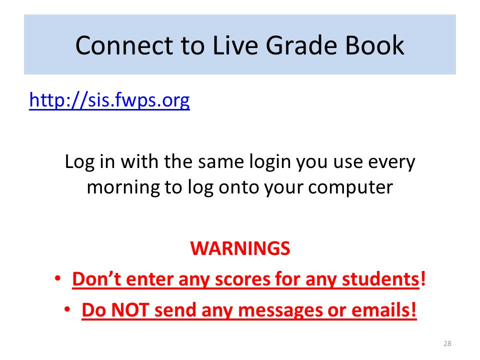 Connect to Live Grade Book
