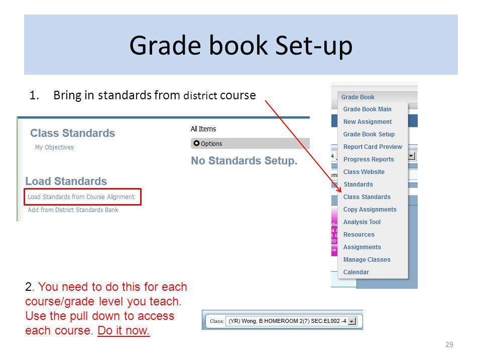 Grade book Set-up Bring in standards from district course