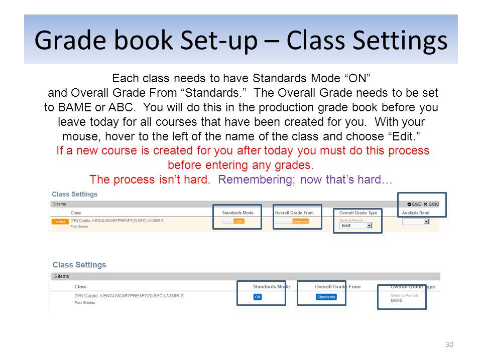 Grade book Set-up – Class Settings