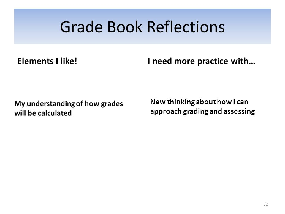 Grade Book Reflections