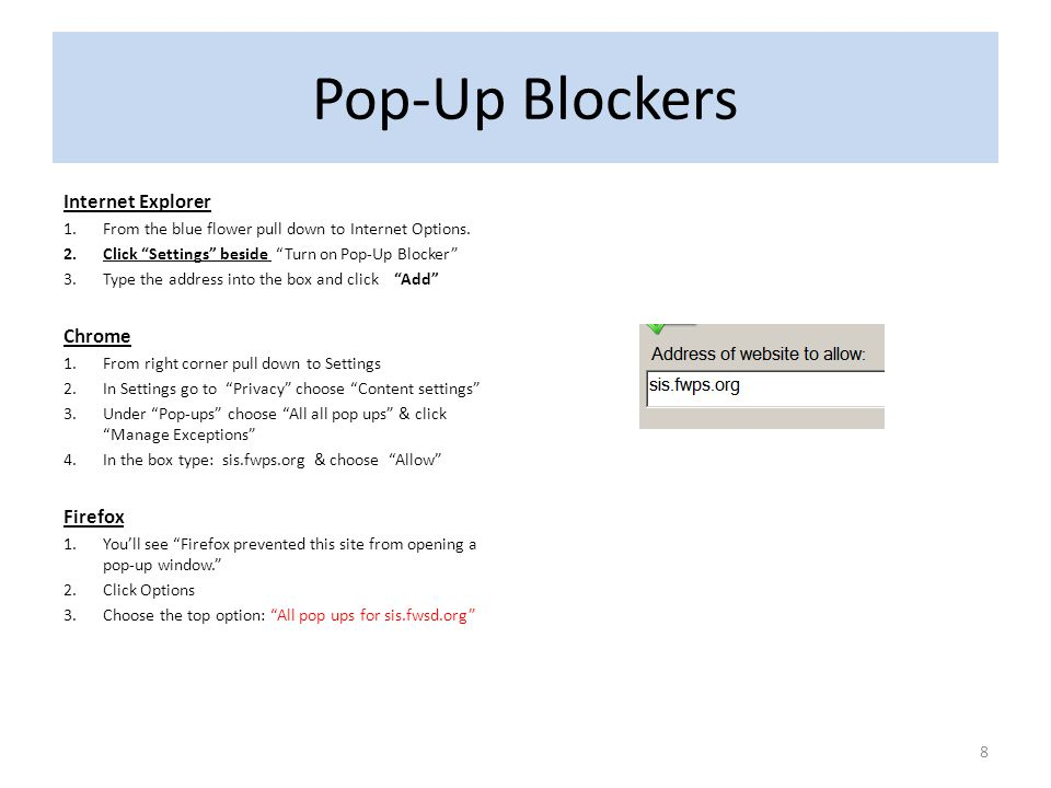 Pop-Up Blockers Internet Explorer Chrome Firefox