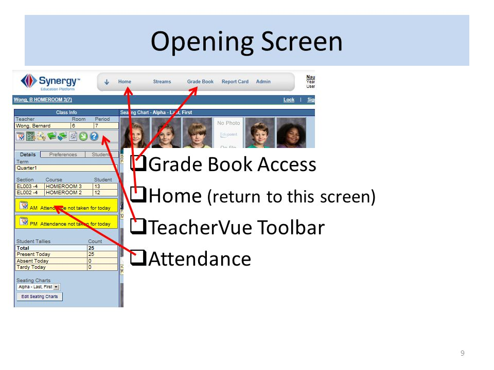 Opening Screen Grade Book Access Home (return to this screen)