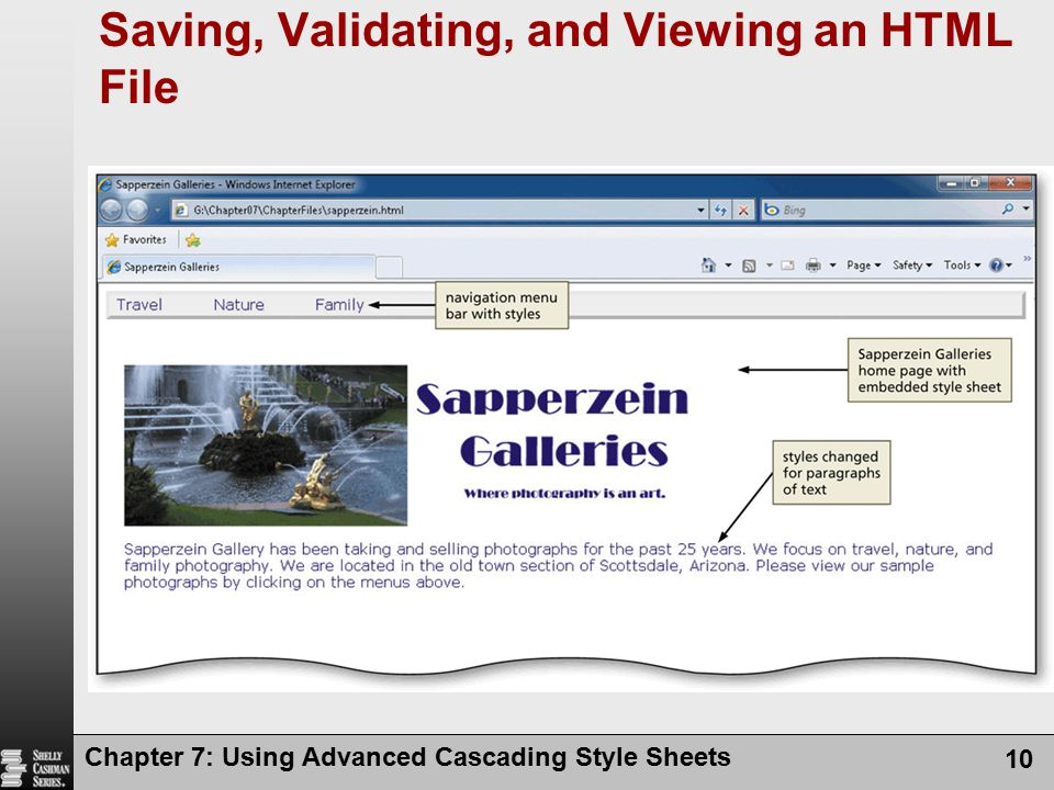 Saving, Validating, and Viewing an HTML File
