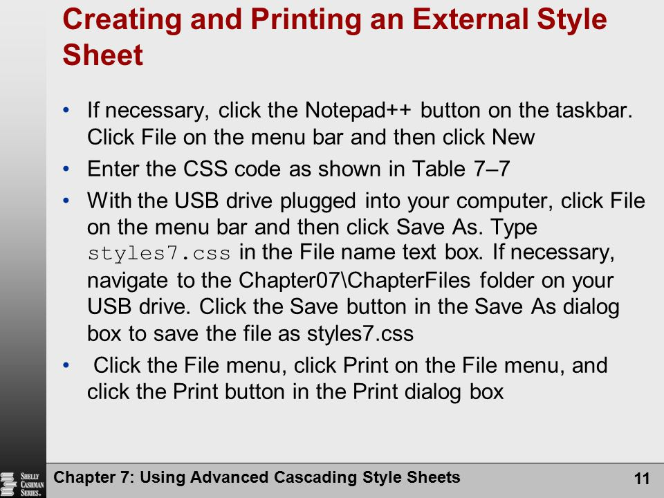 Creating and Printing an External Style Sheet