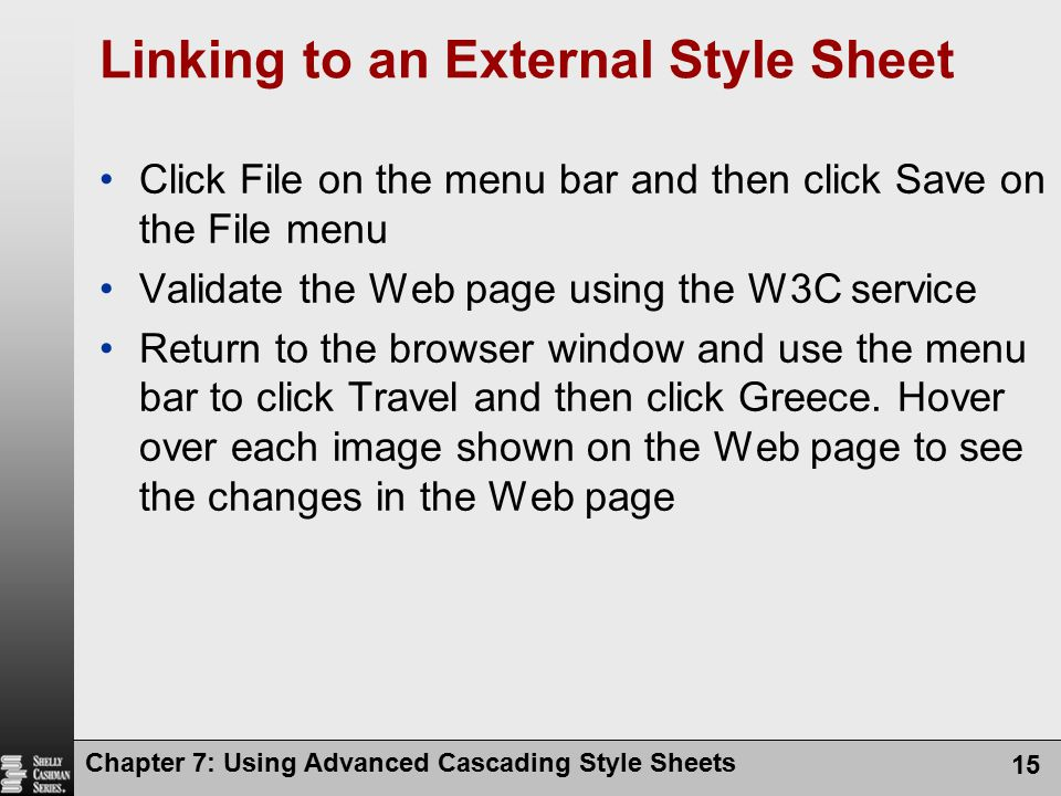 Linking to an External Style Sheet