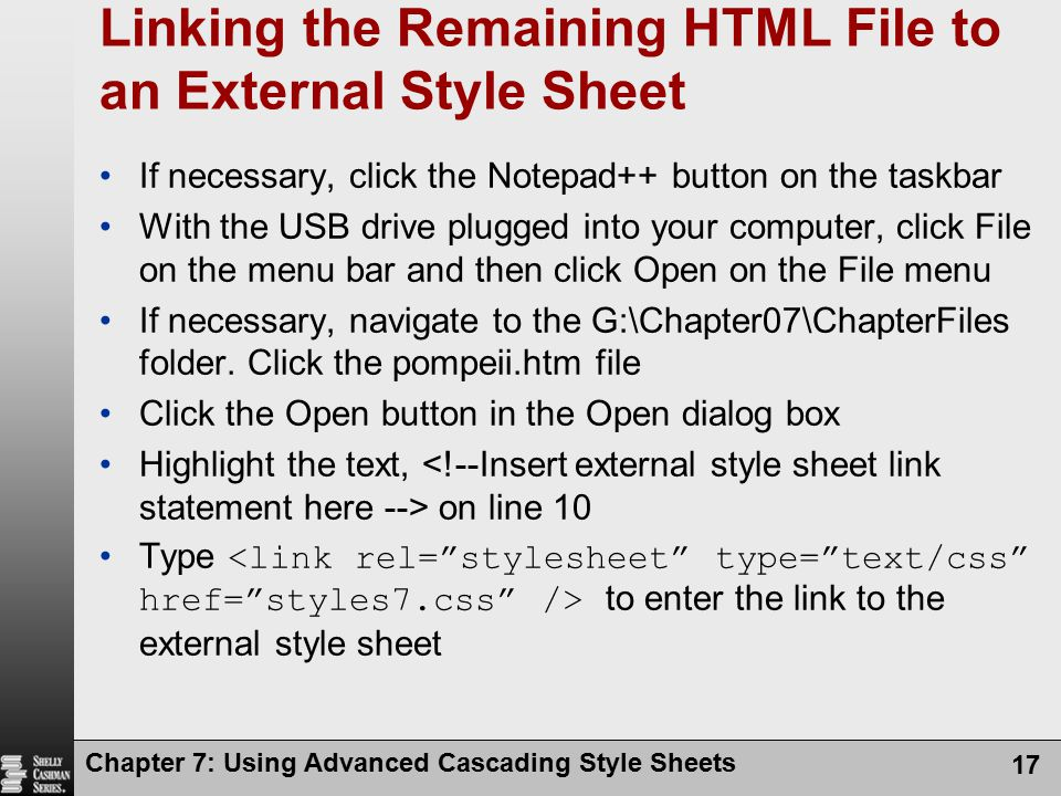 Linking the Remaining HTML File to an External Style Sheet