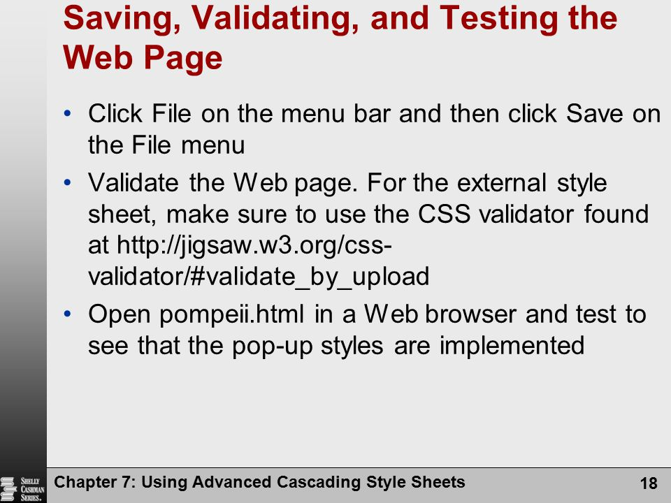 Saving, Validating, and Testing the Web Page