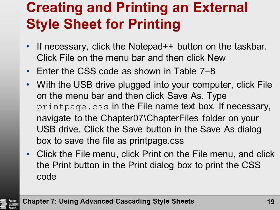 Creating and Printing an External Style Sheet for Printing