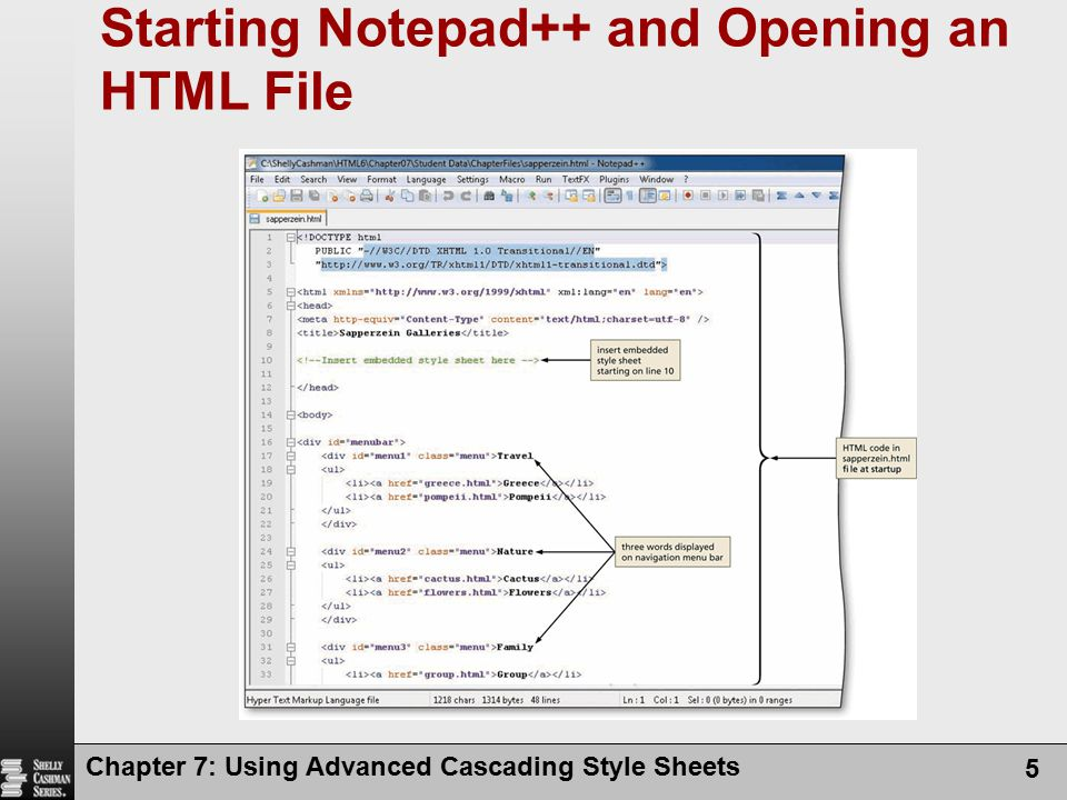 Starting Notepad++ and Opening an HTML File