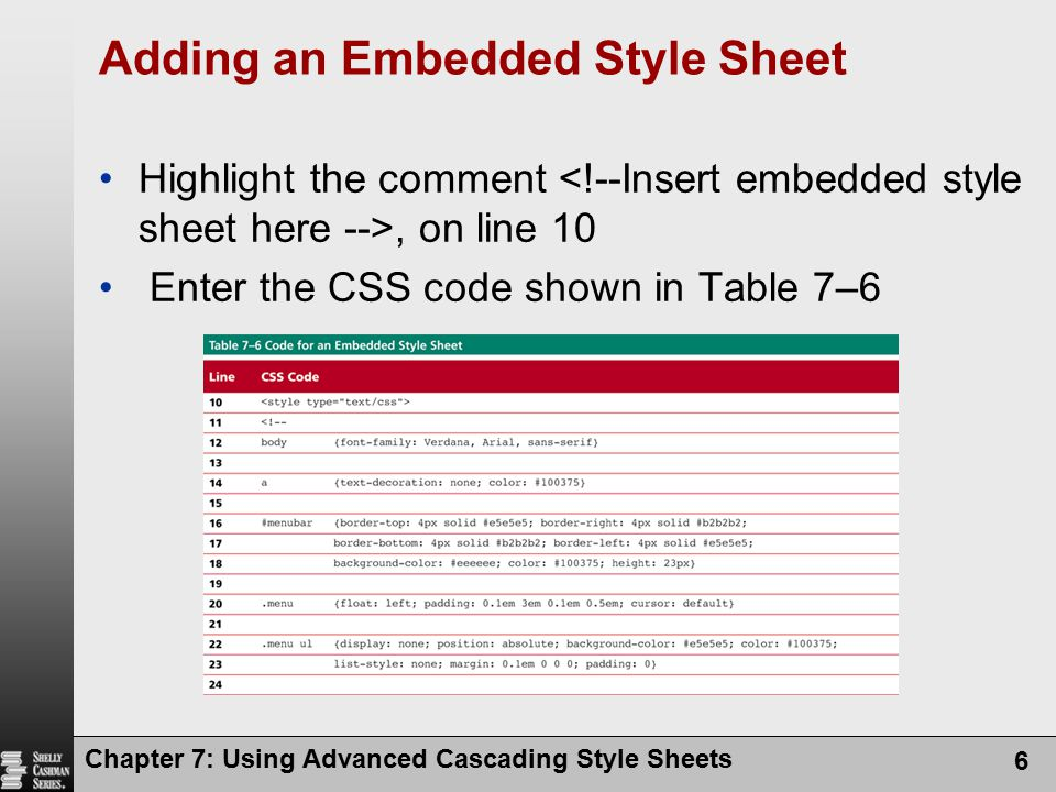 Adding an Embedded Style Sheet