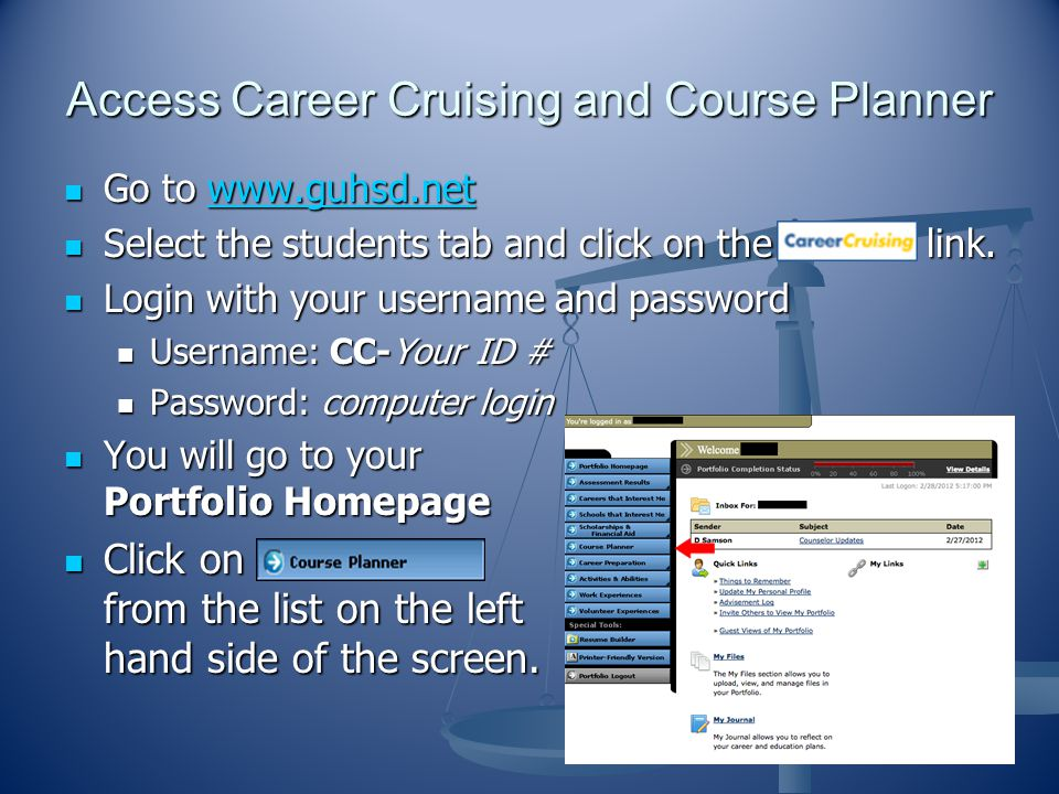 Access Career Cruising and Course Planner