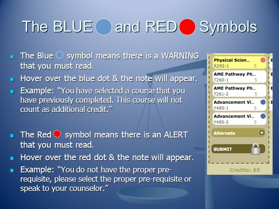 The BLUE and RED Symbols