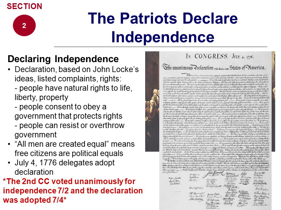 The Patriots Declare Independence