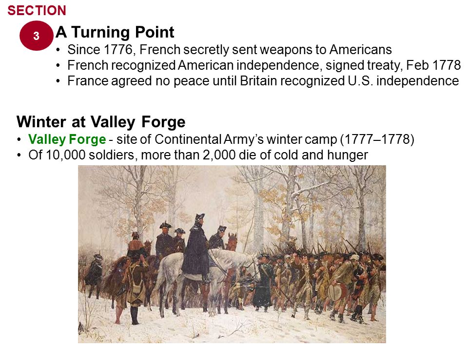 A Turning Point Winter at Valley Forge SECTION