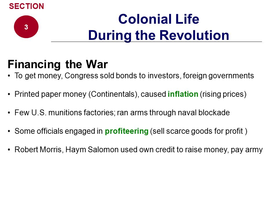 Colonial Life During the Revolution