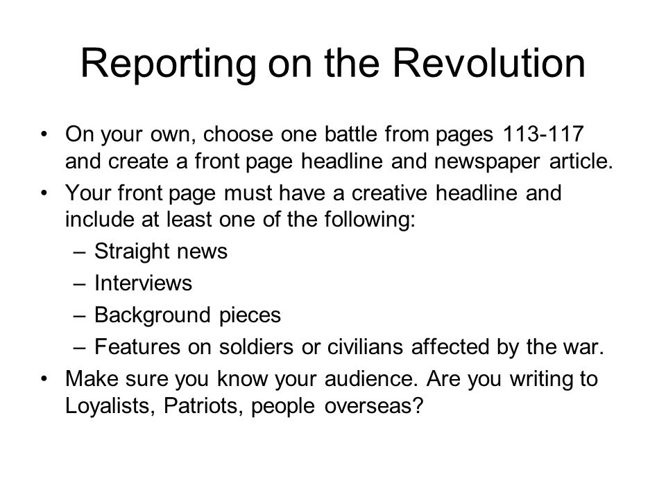 Reporting on the Revolution