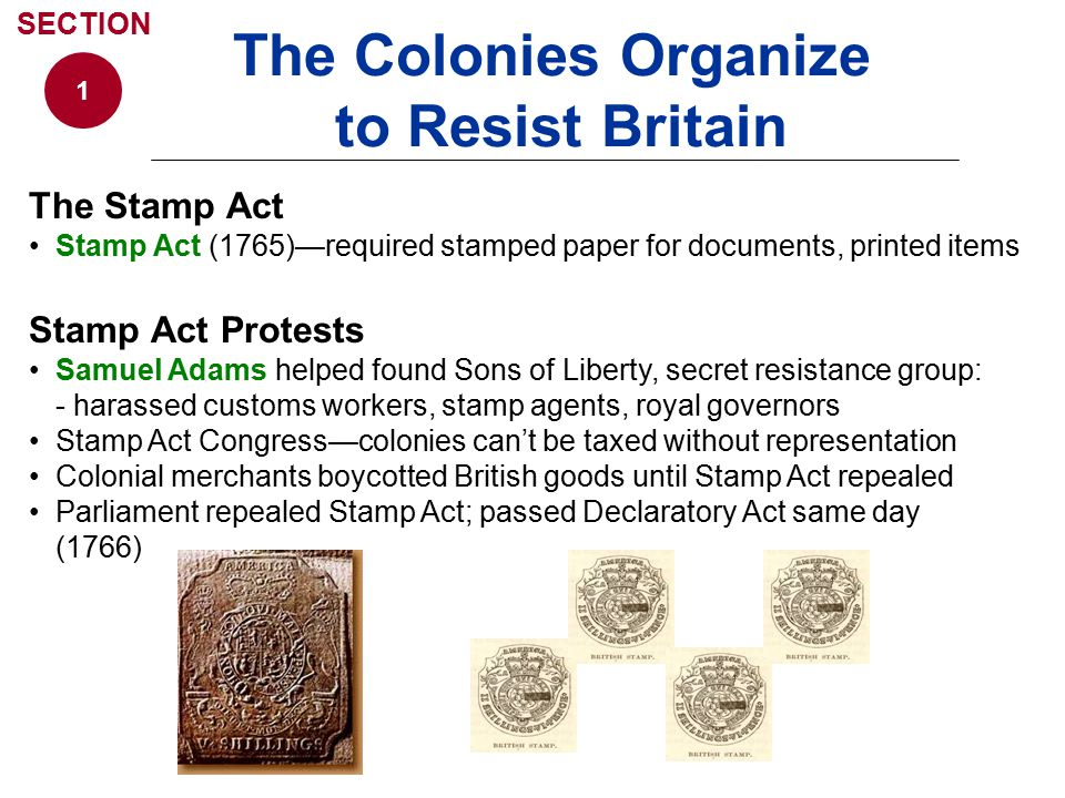 The Colonies Organize to Resist Britain