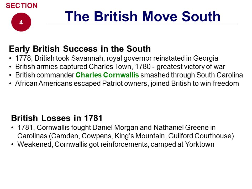 The British Move South Early British Success in the South