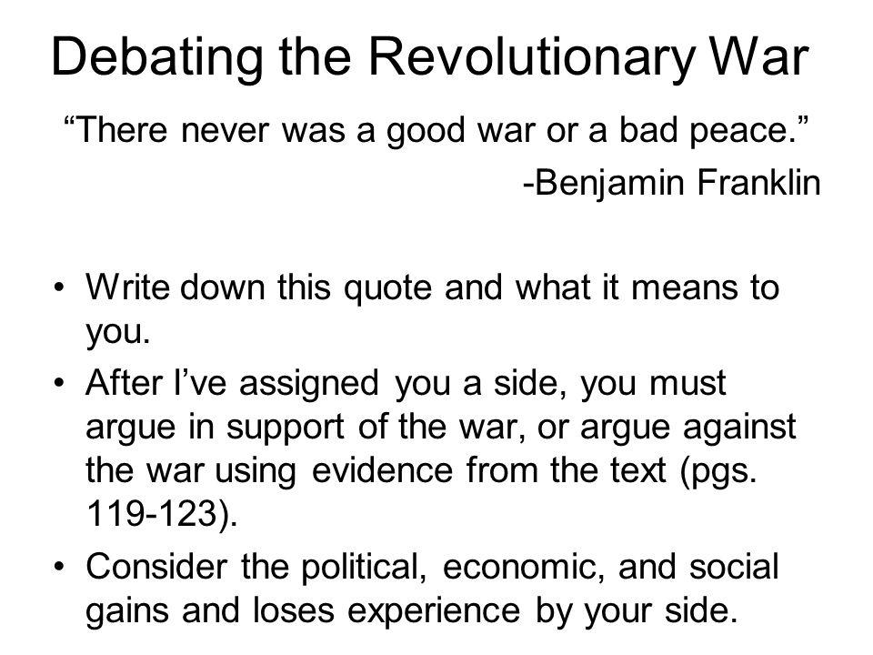 Debating the Revolutionary War