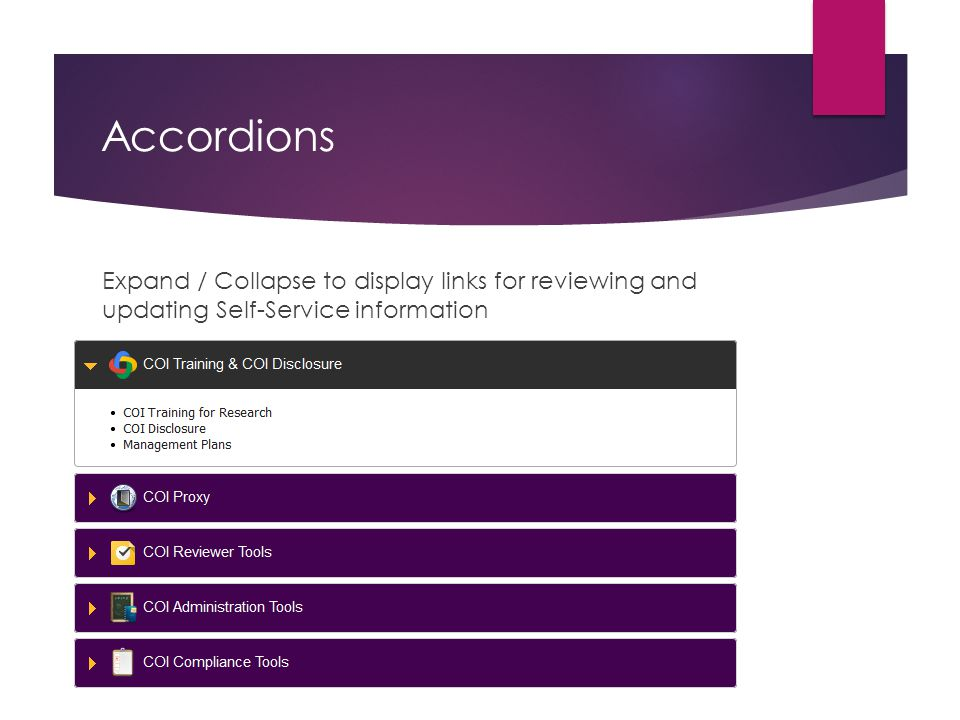 Accordions Expand / Collapse to display links for reviewing and updating Self-Service information