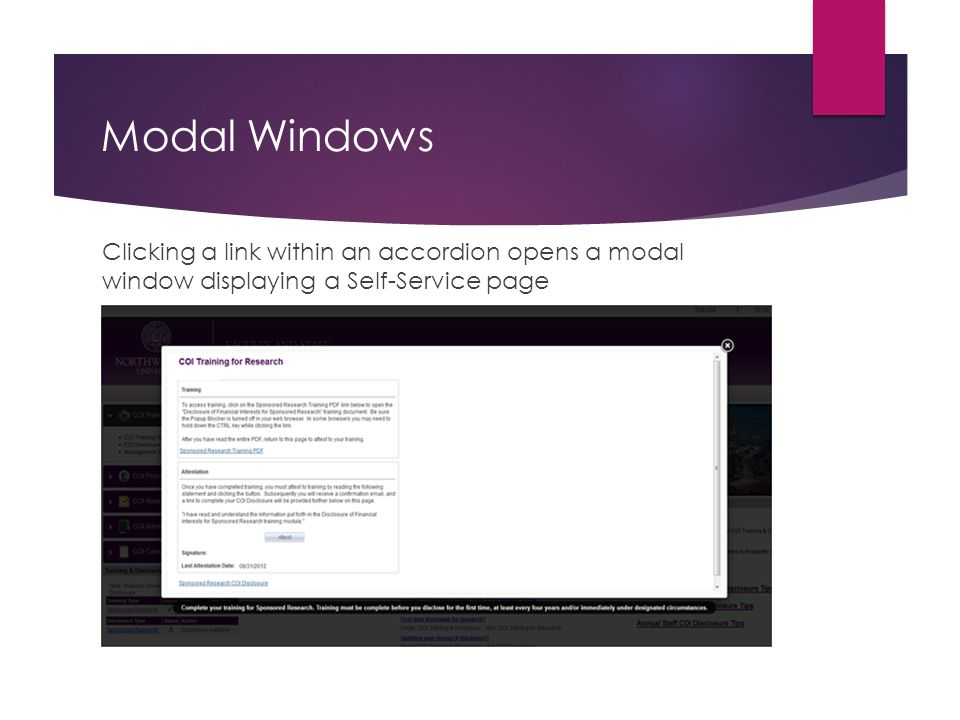 Modal Windows Clicking a link within an accordion opens a modal window displaying a Self-Service page.