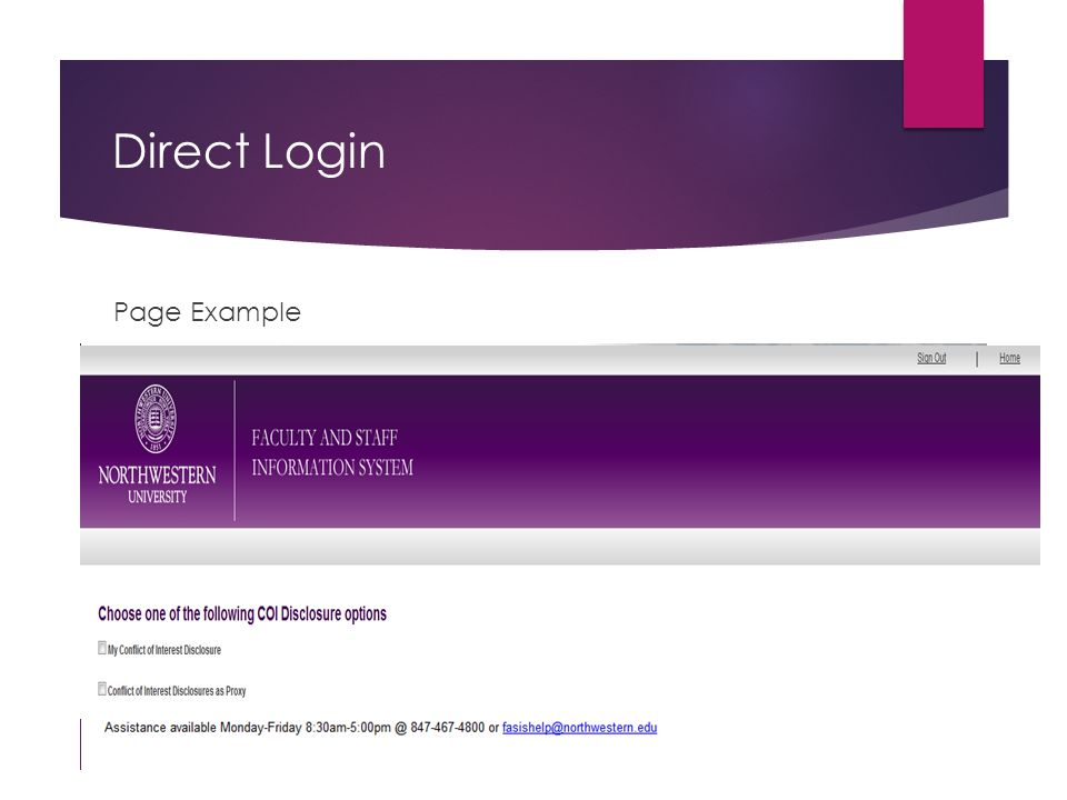 Direct Login Page Example
