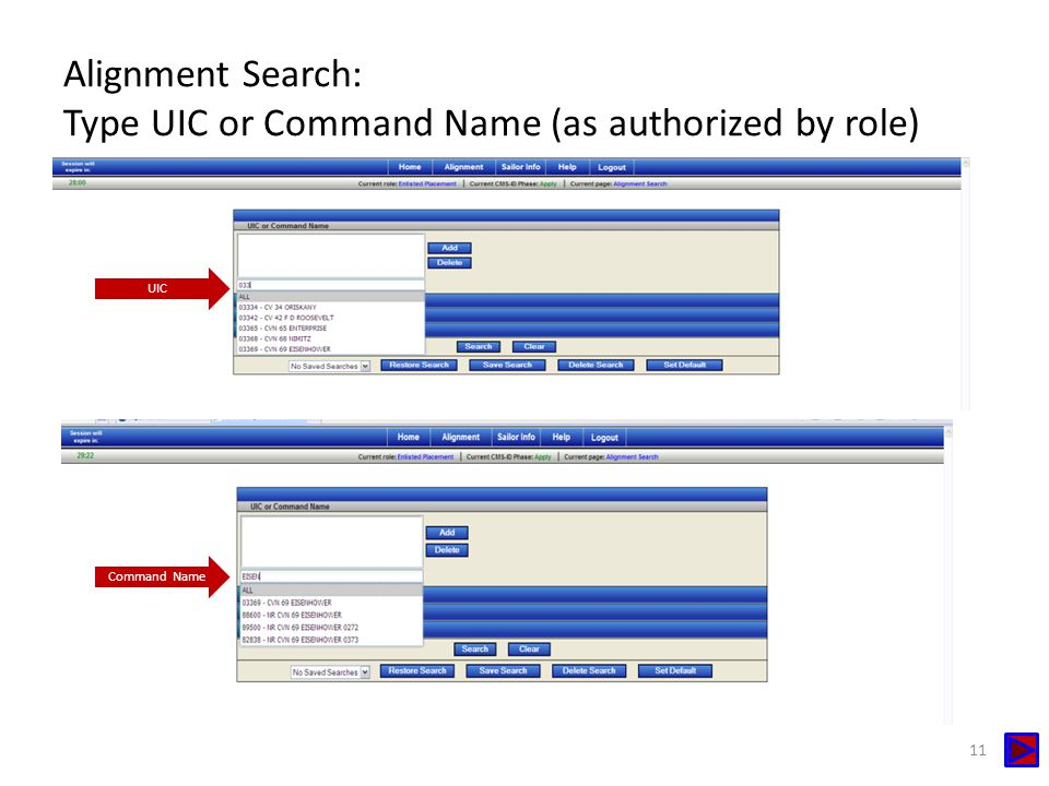 Alignment Search: Type UIC or Command Name (as authorized by role)
