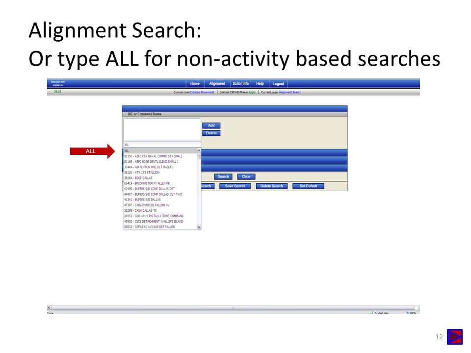 Alignment Search: Or type ALL for non-activity based searches