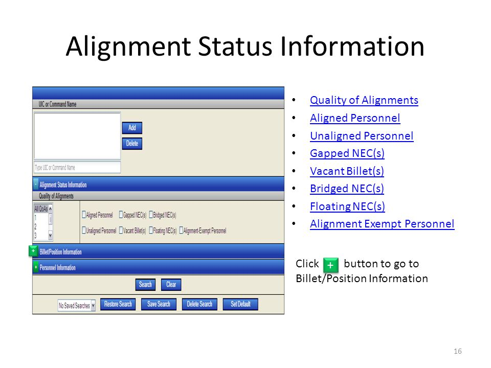 Alignment Status Information