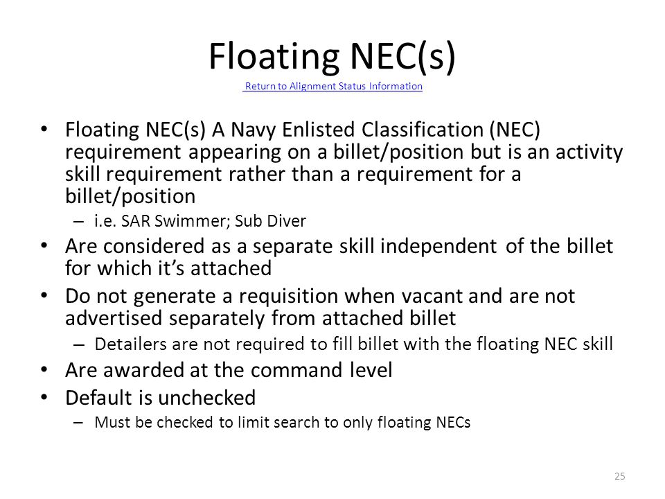 Floating NEC(s) Return to Alignment Status Information