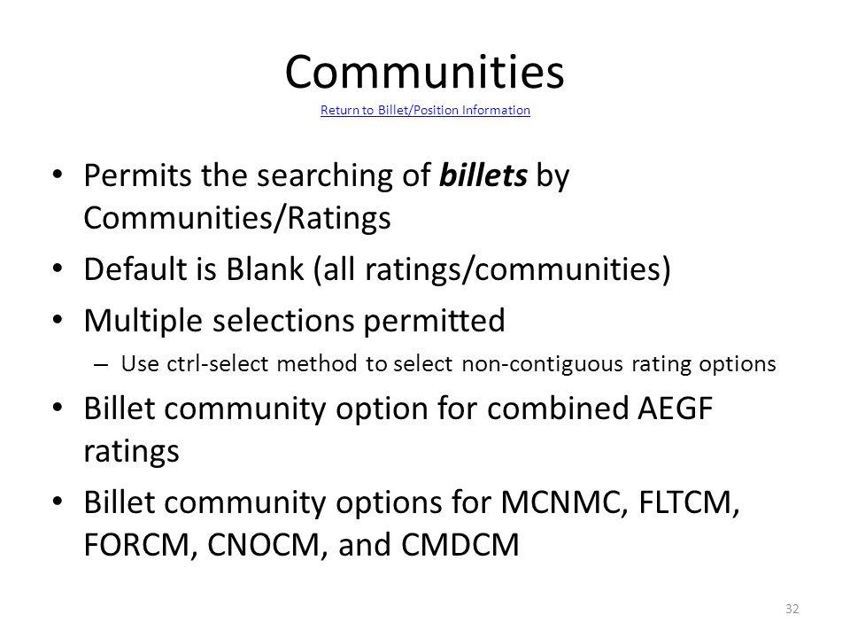 Communities Return to Billet/Position Information