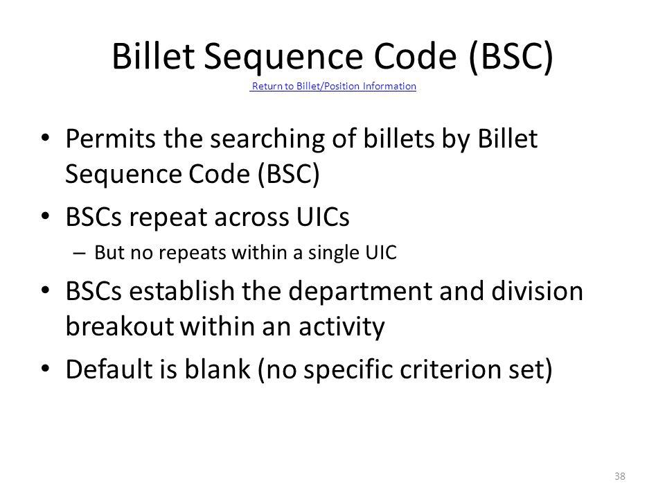 Billet Sequence Code (BSC) Return to Billet/Position Information