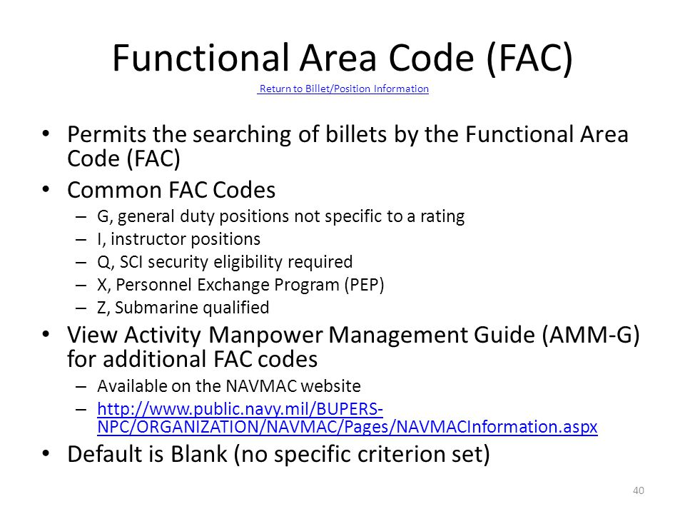 Functional Area Code (FAC) Return to Billet/Position Information
