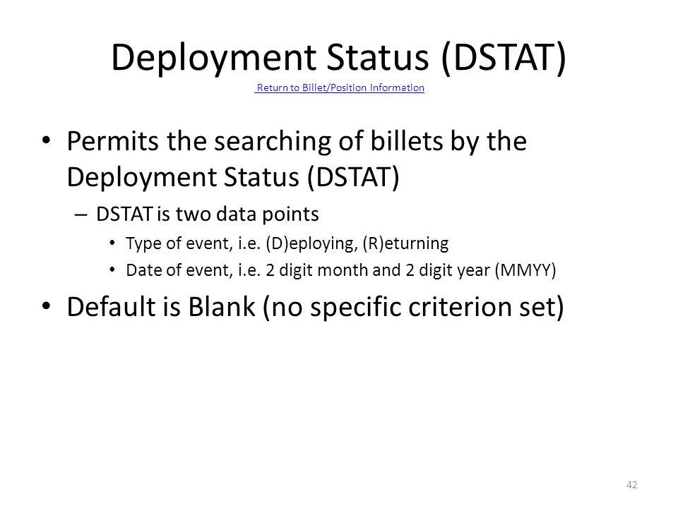 Deployment Status (DSTAT) Return to Billet/Position Information