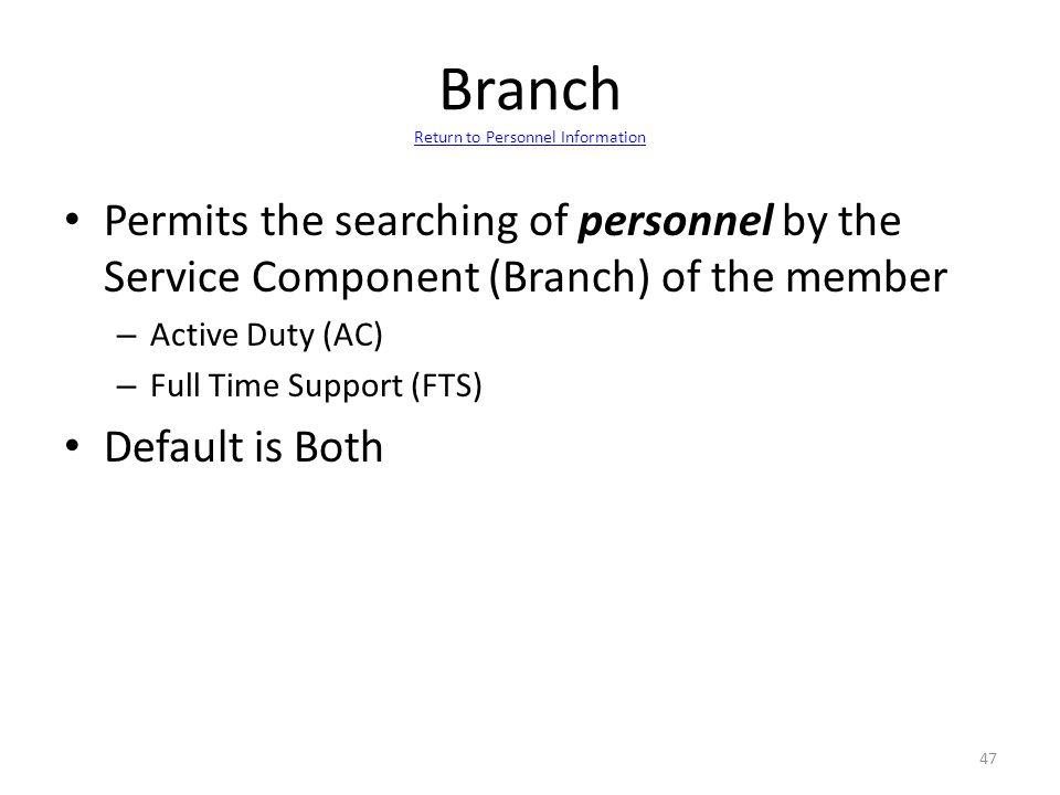 Branch Return to Personnel Information
